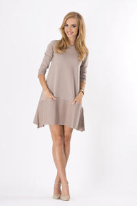 Cappuccino 3/4 Sleeves Loose Fit Dress with Pockets
