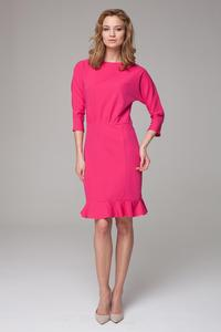 Pink 3/4 Sleeves Frilled Midi Dress