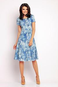 Blue Floral Pattern Flared Short Sleeves Dress