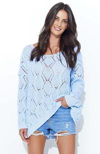 Blue Loose Sweater with a Wide Neckline