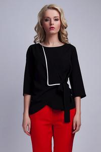 Black Elegant Wrap Front with Self Tie Bow Blouse