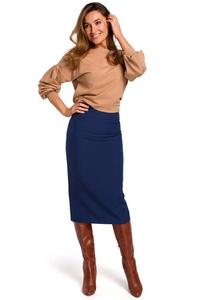 Navy Blue Pencil Skirt over the Knee with a cut belt