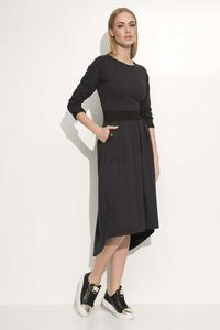 Dark Grey Asymetrical Midi Dress with Contrasting Waist