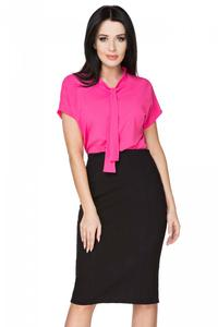 Fuchsia Elegant Blouse with Self Tie Bow
