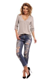 Light Grey Knitted Roled-up Sleeves Blouse