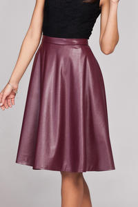 Maroon Leather Flared Knee Length Skirt