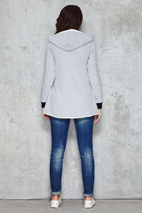 Cool Grey Parabola Hemline Hoodie with Contrast Details