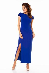 Blue Open Back Maxi Long Dress