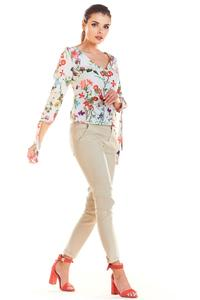 Ecru Blouse in Flowers with Binding on Sleeves