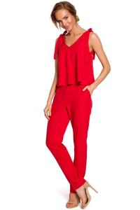 Red Elegant Ladies Jumpsuit with Bows