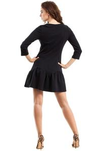 Black Lace-up Neckline Dress