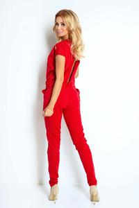 Red Open Back Elegant Ladies Jumpsuit