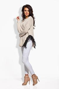 Beige Long Sweater with Gauze Frill
