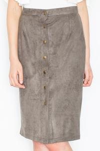 Olive Green Snaps Closure Pencil Skirt