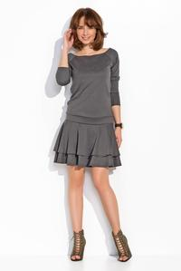 Dark Grey Light Pleats Mini Casual Dress