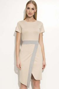 Beige Asymetrical Dress with Contrasting Stripe