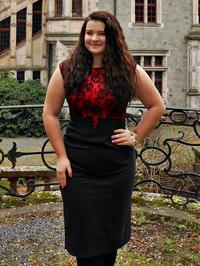 Red Evening Dress with Lace Top Plus Size