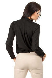 Black Medici Collar Silky Feel Shirt