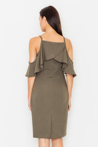 Olive Green Spaghetti Straps Pencil Dress with a Frill