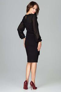 Black Midi Dress With Transparent Sleeves
