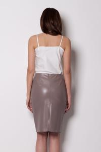Pencil Leather Coffee Skirt with Back Seam zip Fastening