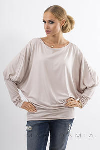 Beige Casual Long Bat Sleeves Blouse