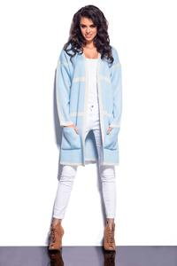 Blue Long Cardigan with Contrasting Piping
