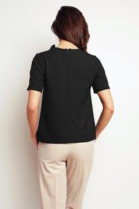 Black Short Sleeves Top with a Frill