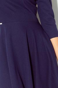 Dark Blue 3/4 Sleeves Asymetrical Coctail Dress
