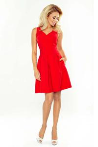 Red Sleeveless Flared Dress with Side Pockets