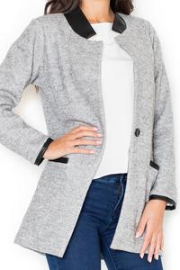 Grey Oversized Casual Jacket with Eco-Leather Details