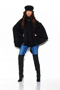 Black Asymmetrical Poncho with Hood