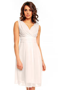 Off White Elegant Deep Neck Evening Dress