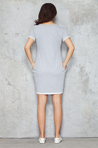 Grey Shift Dress with Silky Bust Panel
