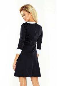 Black Flared Dolly Style Dress with Contarsting Collar