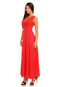 Red V-Neck Slim Waist Prom Evening Dress
