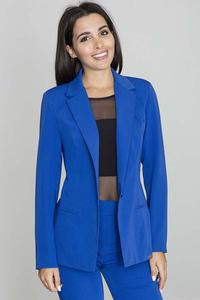 Elegant Blue Jacket Stylish Waisted Cut