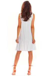 White Loose Sleeveless Frill Dress