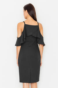 Black Spaghetti Straps Pencil Dress with a Frill