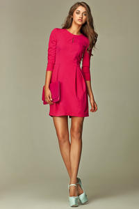 Seam Pink Dress with Wide Pleated Skirt