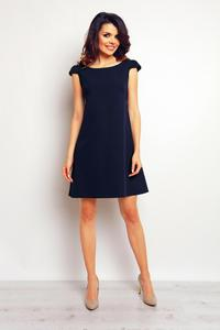 Dark Blue Flared Dress with Butterfly Sleeves