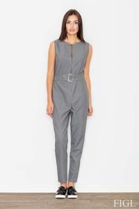 Grey Zipper Closure Belted Ladies Jumpsuit