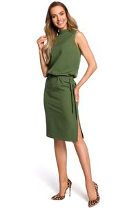 Green Blocked Midi Sleeveless Stand Dress