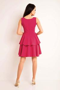Pink Flared Dress with Frills