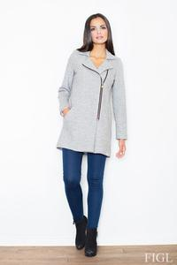 Grey Short Woolen Coat with Asymetrical Zip Closure