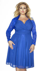 Blue Lace Short Bolero Blazer PLUS SIZE