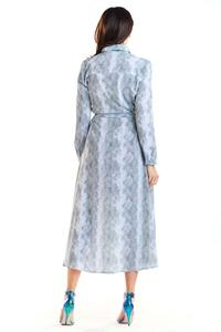 Gray Long Leopard Shirt Dress