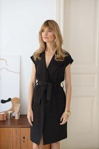 Black Belted Knee Length Dress