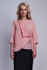 Powder Pink Elegant Wrap Front with Self Tie Bow Blouse