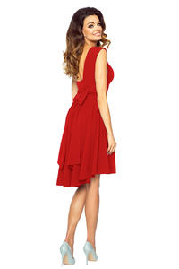 Red Deep Back Prom Dress with Bow